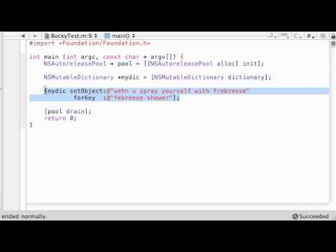 Objective C Programming Tutorial - 59 - Dictionary Objects