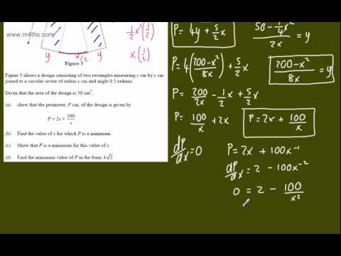 (g) Optimisation Core 2 Example 7 (sector area) C2 minimizing optimization calculus