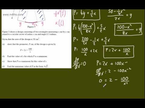 (g) Optimisation Core 2 Example 7 (sector area) C2 minimizing optimization calculus