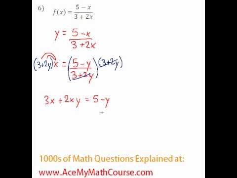 Functions - Finding the Inverse Question #6