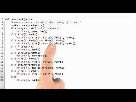 Writing Hand Rank Solution - CS212 Unit 1 - Udacity