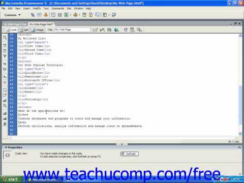 HTML Tutorial Definition Lists Training Lesson 6.4