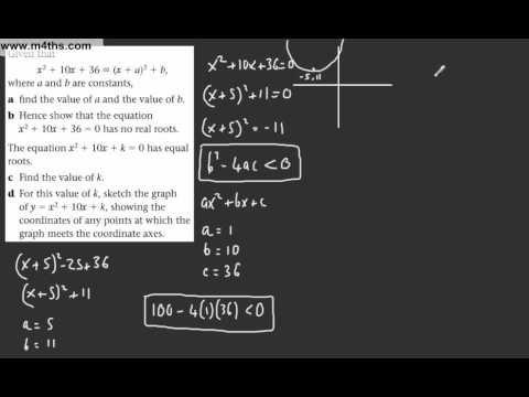 (10) Core 1 AS maths - Edexcel Algebra Review 1 - Discriminant Problem 2 exam question