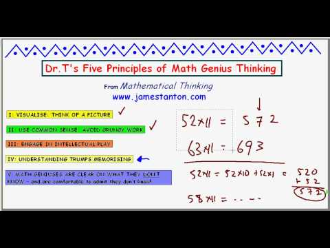 Dr. T's Five Math Genius Principles : PART II (TANTON Mathematics)