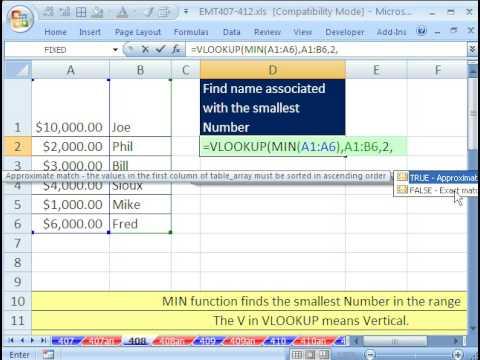 Excel Magic Trick 408: VLOOKUP MIN Value