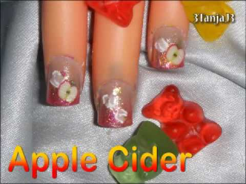*Apple Cider* Fruit Nail Art Design Tutorial - Short Nails