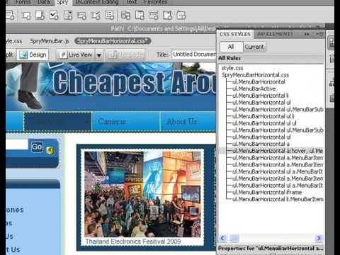 How To Create Drop Down Menus In Dreamweaver CS4 Lesson 3.wmv