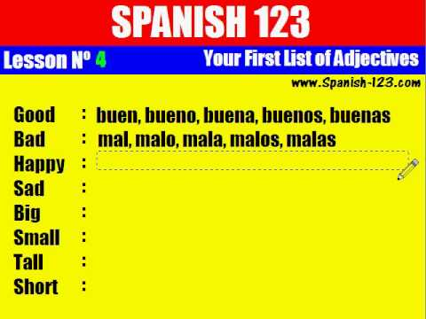 Class 4. Your First List Of Adjectives in Spanish.