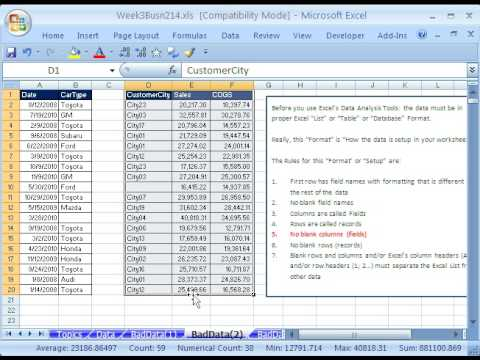 Highline Excel Class 14: How To Setup Data in Excel