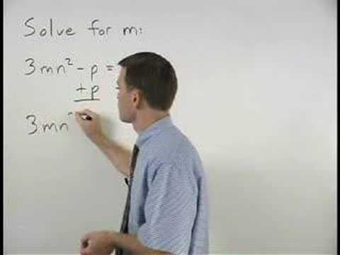 Literal Equations - YourTeacher.com - Algebra Help