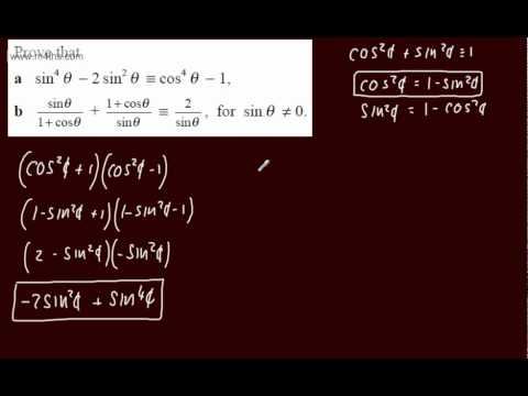(26) Trigonometry Core 2 -Exam Question (7) Identites - harder examples
