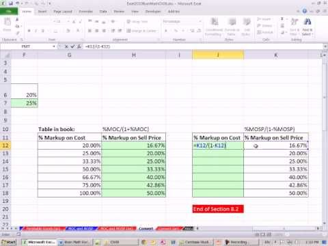 Excel 2010 Business Math 71: Convert % Markup On Cost To % Markup On Sell Price & Visa Versa