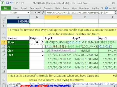 Excel Magic Trick 478: Reverse Two Way Lookup For Date and Time Column and Row Headers