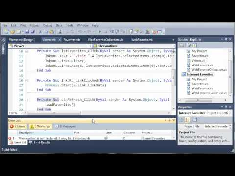 Visual Basic Tutorial - 195 - Creating The Favorites DLL