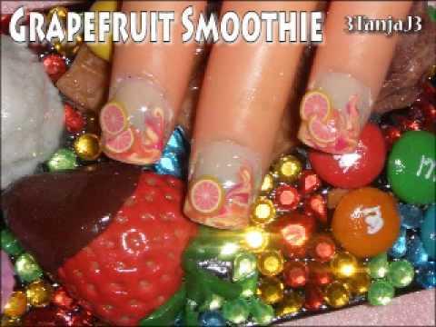 *Grapefruit Smoothie Nail Art Design* - Short Nails