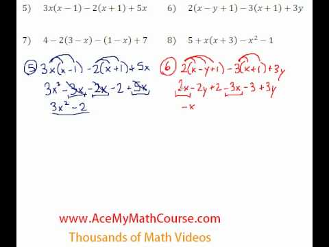 Basic Algebra Review - Distributive Property Simplifying #5-8