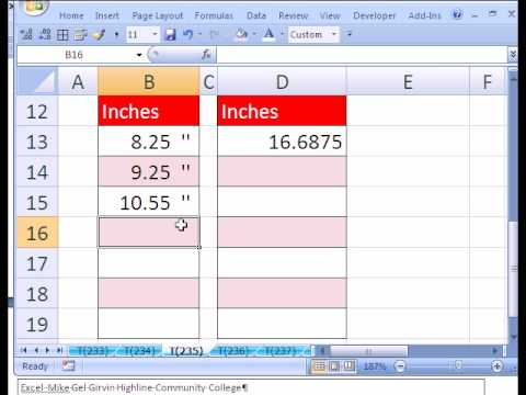 Excel Magic Trick #235: Custom Number Format for Inches