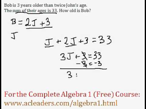 (Algebra 1) Word Problem - Age Question #2