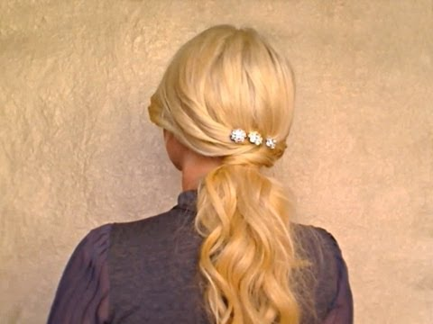 Easy romantic soft ponytail hairstyles Glam long hair tutorial for Christmas holiday New Years look