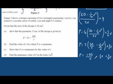 (q9) C2 Exam Practice 1 - LAST MINUTE REVISION ONLY - Optimisation - Core 2