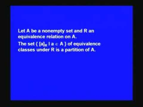 Lecture 23 - Equivalence relations and partitions