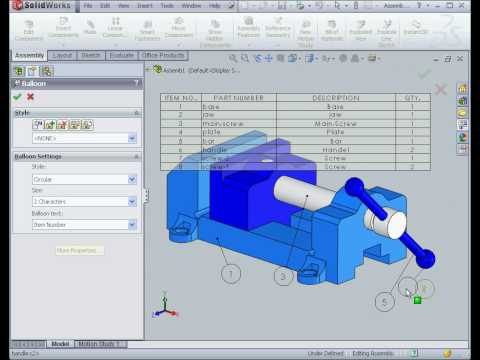 solidworks 2009 tutorial Drawing Assembly