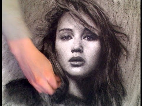 Jennifer Lawrence (Hunger games) portrait drawn upside down