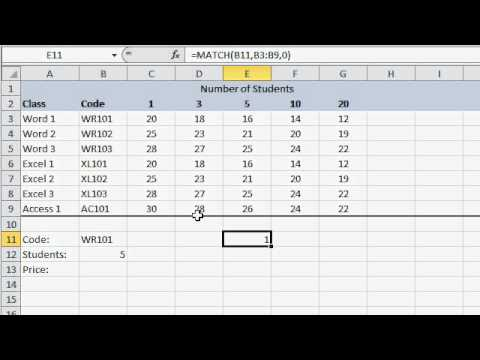 Microsoft Excel MATCH and INDEX Tutorial