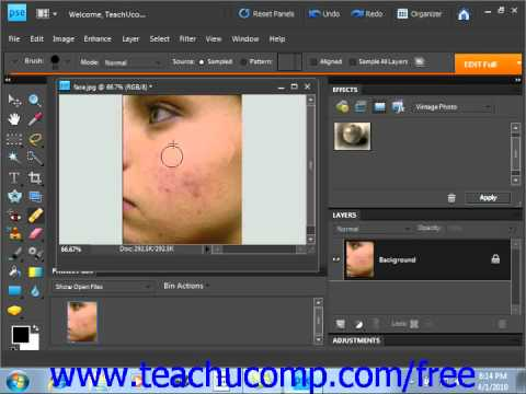 Photoshop Elements 9.0 Tutorial The Healing Brush Tool Adobe Training Lesson 13.16