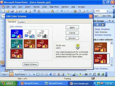PowerPoint 2003 Tutorial Change Custom Color Scheme to Standard Microsoft Training Lesson 23.3