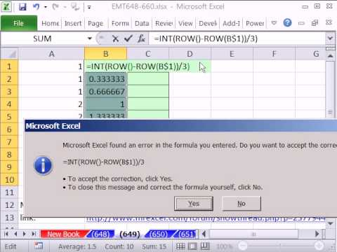 Excel Magic Trick 649: Formula to increment number pattern 1,1,1,2,2,2,3,3,3...