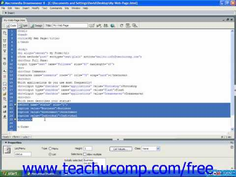 HTML Tutorial Menu Lists Training Lesson 13.6