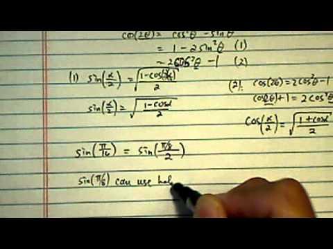 Half-Angle and Quarter-Angle Formulars: sin (pi/16)