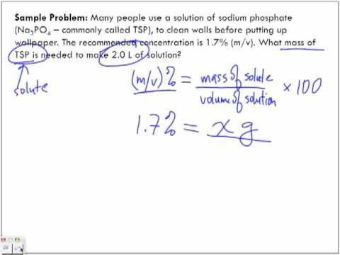 Concentration of Solutions: mass/volume % (m/v)% Sample Problem #2