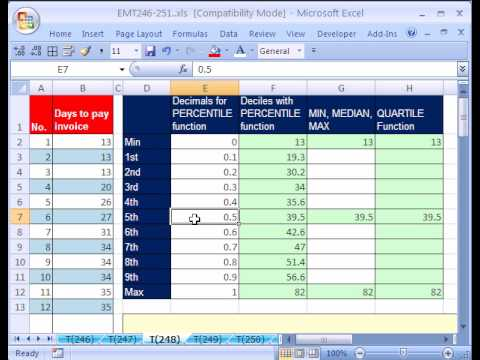 Excel Magic Trick #248: PERCENTILE QUARTILE functions Decile
