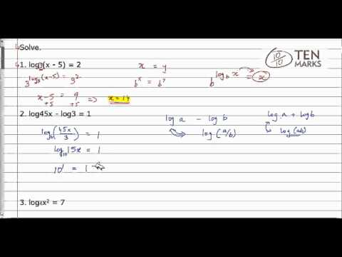 Solve Logarithmic Equations