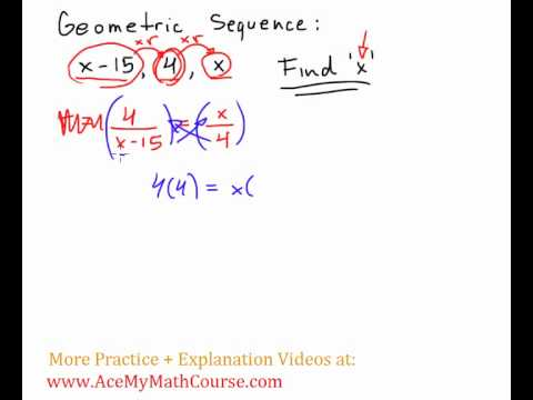 Geometric Sequence Problem - find 'x'