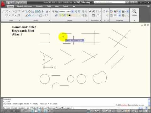 AutoCAD Tutorial - Using the FILLET Command