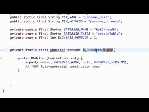 Android Application Development Tutorial - 113 - SQLite class implementing SQLiteOpenHelper