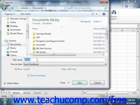 Excel 2010 Tutorial Saving Workbooks Microsoft Training Lesson 2.3