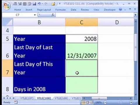 YTLE#108: Excel Number of Days In Year