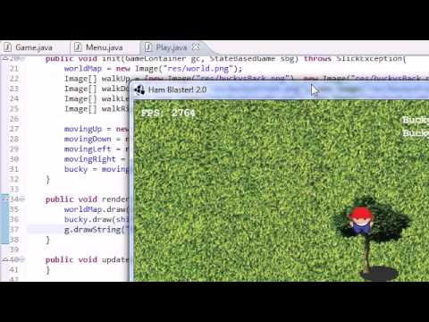 Java Game Development with Slick - 18 - Drawing Bucky and the World on the Screen