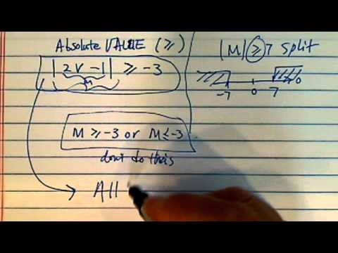 Absolute Value: solve for x if |2v-1| larger than and equal to -3