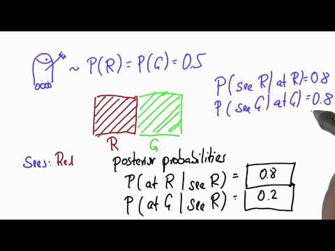 Robot Sensing 1 Solution - Intro to Statistics - Bayes Rule - Udacity