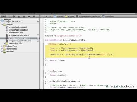 Learn Xcode 4 Tutorial iOS iPad iPhone 1.5  Implementing Methods Actions