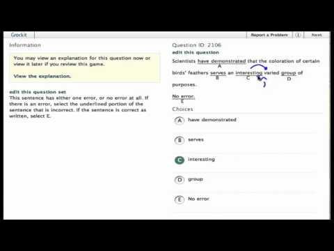 Grockit SAT Writing - Identifying Sentence Errors: Question 2106