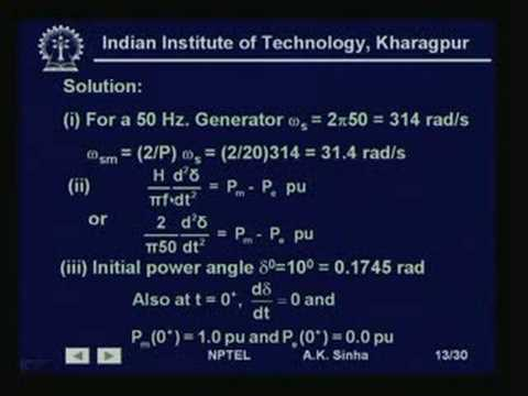Lecture - 34 Power System Stability - II