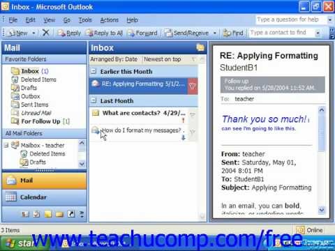 Outlook 2003 Tutorial Message Statuses Microsoft Training Lesson 3.4