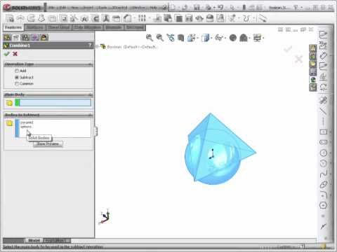 Advanced Solidworks 2012 Tutorial | Boolean Operations - Combine Feature
