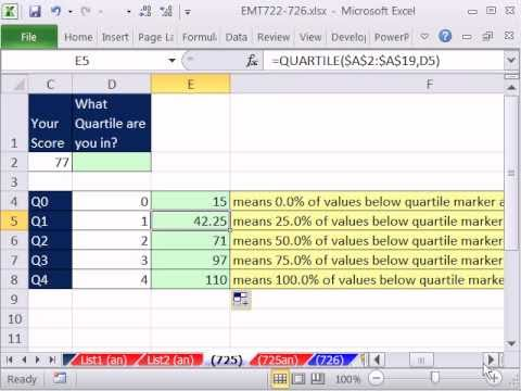Excel Magic Trick 725: Which Quartile Are You In? INPUT your Score, Formula Says Quartile You Are In